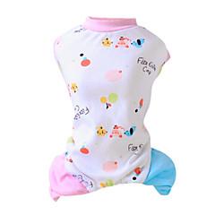 お買い得  猫の服-ネコ / 犬 ジャンプスーツ / パジャマ 犬用ウェア カートゥン イエロー / ピンク コットン コスチューム ペット用 男性用 / 女性用 ファッション