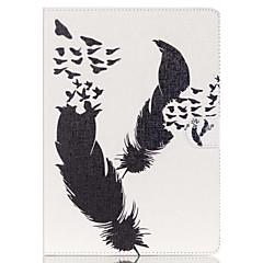 Недорогие Чехлы и кейсы для Galaxy Tab 3 Lite-Кейс для Назначение Samsung Бумажник для карт Кошелек со стендом С узором Авто Режим сна / Пробуждение Чехол  Перья Твердый Кожа PU для
