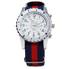 preiswerte Tolle Angebote auf Uhren-Herrn Armbanduhr Quartz Stoff Band Analog Mehrfarbig - Weiß Marineblau