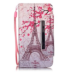Voor LG hoesje Kaarthouder / Portemonnee / met standaard / Flip / Patroon hoesje Volledige behuizing hoesje Eiffeltoren Hard PU-leer LGLG