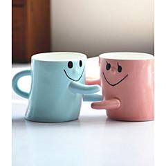 bardaklar çift bir fincan için yüz kucak gülümseyen 2adet sevgililer hediye kadın ve erkek arkadaş doğum günü hediyesi severler