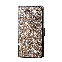 Недорогие Кейсы для iPhone 6 Plus-Кейс для Назначение Apple Кейс для iPhone 5 Бумажник для карт Стразы со стендом Чехол Сияние и блеск Твердый Искусственная кожа для