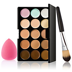 billige Øjenmakeup-15 Concealer/kontur Pulver Puff/Skønhedsblender Makeupbørster Våd Ansigt Blegende Dekning Længerevarende Concealer Ujævn hud Naturlig