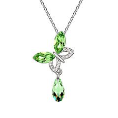 preiswerte Halsketten-Damen Kristall Anhängerketten - Schmetterling, Tier Modisch Rose, Grün, Blau Modische Halsketten Für Alltag, Normal