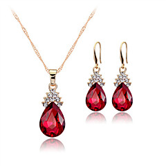 cheap Jewelry Sets-Women's Crystal Rose Gold Crystal Jewelry Set Earrings Necklace - Party Work Bridal Elegant Drop White Red Blue Jewelry Set Drop Earrings