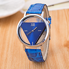 preiswerte Damenuhren-Damen Armbanduhr Transparentes Ziffernblatt / / PU Band Freizeit / Modisch Schwarz / Weiß / Blau