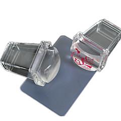 1stk nye gennemsigtig firkantet silikone nail art stamper skraber nail art polish print værktøjer nd235