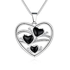 Жен. Ожерелья с подвесками Ожерелья-цепочки В форме сердца Геометрической формы Медь Серебрянное покрытие Сердце Мода Бижутерия Назначение