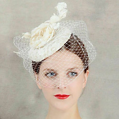 Women's Lace Flower Veil Forehead Hair Fascinator Hat Jewelry for Wedding Party