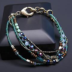 preiswerte Armbänder-Damen Türkis Perlenbesetzt / Glasperlen Armband - Türkis Freizeit, Dehnbar, Gestapelt Armbänder Schwarz / Grün / J Für Alltag