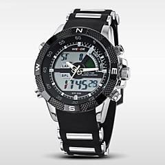 preiswerte Herrenuhren-WEIDE Herrn Armbanduhr / Digitaluhr Alarm / Kalender / Chronograph Caucho Band Luxus Schwarz / Edelstahl / Wasserdicht / LCD / Duale Zeitzonen