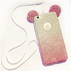 billige Etuier til iPhone 6s-Til iPhone 8 iPhone 8 Plus iPhone 6 iPhone 6 Plus Etuier Andet Bagcover Etui Glitterskin Blødt TPU for iPhone 8 Plus iPhone 8 iPhone 7