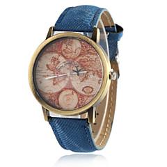 お買い得  大特価腕時計-女性用 リストウォッチ クォーツ カジュアルウォッチ PU バンド ハンズ ヴィンテージ ファッション 世界地図柄 ブラック / 白 / ブルー - レッド グリーン ブルー 1年間 電池寿命 / Tianqiu 377