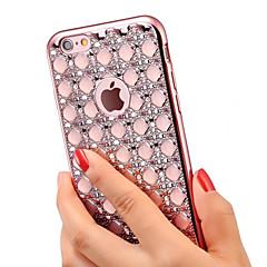 Para iPhone X iPhone 8 iPhone 6 iPhone 6 Plus Carcasa Funda Diamantes Sintéticos Cromado Cubierta Trasera Funda Brillante Suave TPU para