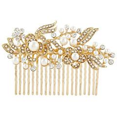 お買い得  ヘアジュエリー-結婚式のパーティーの女性の宝石のための銀クリスタルパールヘアコーム