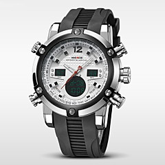 お買い得  メンズ腕時計-WEIDE 男性用 クォーツ 日本産クォーツ リストウォッチ アラーム カレンダー クロノグラフ付き 耐水 2タイムゾーン LCD ラバー バンド ぜいたく ブラック