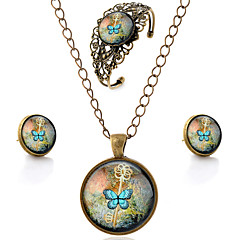 Lureme® Time Gem Series Vintage Key and Butterfly Pendant Necklace Stud Earrings Hollow Flower Bangle Jewelry Sets