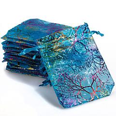 abordables Bolsas y Cajas-10 unids colorido lazo coral flor caramelo bolsas de regalo bolsa de joyería 9x12cm