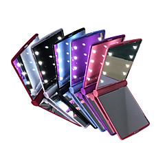 abordables Super venta de LED-espejos LED Mini cosmética plegable portátil de mano compacto conforman espejo de bolsillo con 8 LED para la señora mujeres niñas
