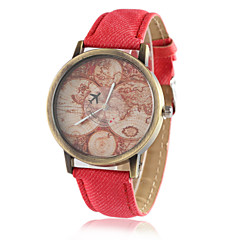 preiswerte Damenuhren-Damen Quartz Armbanduhr Armbanduhren für den Alltag PU Band Retro Kleideruhr Weltkarte Muster Modisch Schwarz Weiß Blau Rot Grün Gelb