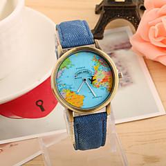 preiswerte Tolle Angebote auf Uhren-Damen Quartz Armbanduhr Armbanduhren für den Alltag PU Band Retro Weltkarte Muster Modisch Schwarz Weiß Blau Rot Grün Gelb