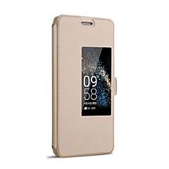 voordelige Hoesjes / covers voor Huawei-hoesje Voor Huawei Honor 6 Huawei Huawei P7 Huawei hoesje met standaard met venster Automatisch aan / uit Flip Volledig hoesje Effen Kleur