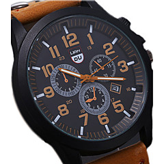 cheap Leather Band Watches-Men's Quartz Wrist Watch Military Watch Sport Watch Calendar / date / day Water Resistant / Water Proof Leather Band Cool Black Brown