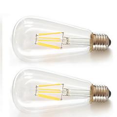preiswerte LED-Birnen-KAKANUO 2pcs 6W 600 lm E26/E27 LED Glühlampen ST64 6pcs Filament COB Leds COB Dekorativ Warmes Weiß Wechselstrom 85-265V