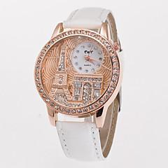 Dame Kjoleur Modeur Simuleret Diamant Ur Quartz Imiteret Diamant PU Bånd Eiffeltårnet Hvid Blåt Rød Grøn Pink Lilla Gul RoseKaffe Rød