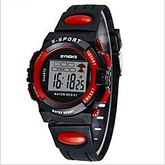 SYNOKE Kinderen Sporthorloge Polshorloge Digitaal horloge Digitaal LCD Kalender Chronograaf Waterbestendig alarm Lichtgevend PU BandZwart