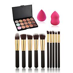 10st make-up kwasten set + 15 kleuren concealer palet + make-up spons water zwelbaar
