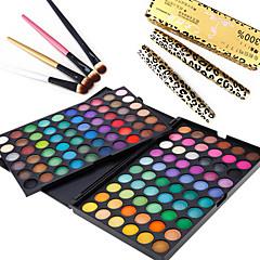 3in1 oog make-up set (120 kleuren oogschaduw make-up palet + 4 stuks oogschaduw borstel + 2 stuks wimpers expansie curling mascara)