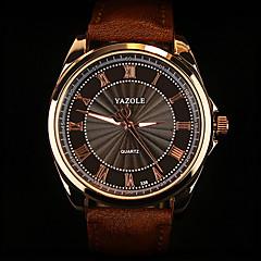 お買い得  メンズ腕時計-男性用 リストウォッチ クォーツ 30 m 耐水 PU バンド ハンズ チャーム ブラック / ブラウン - ブラック ホワイトとブラック ホワイト / ブラウン 1年間 電池寿命 / SODA AG4