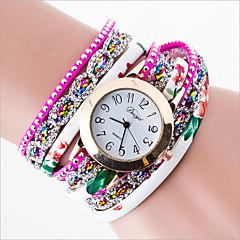 Dames Modieus horloge Kwarts gevlochten touw PU Band Zwart Wit Rood Groen roze Wit Zwart Roos Rood Groen