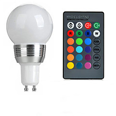 cheap LED Bulbs-GU10 85V-265V 100-200Lm 3W RGB Remote Control LED Colorful Bulbs