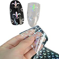 1pcs 100 * 4cm láser transparente del arte del clavo del brillo pegatinas diy hermosa flor de uñas imagen geométrica belleza lt09-12