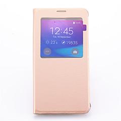Недорогие Чехлы и кейсы для Galaxy Note 5-Кейс для Назначение SSamsung Galaxy Samsung Galaxy Note со стендом / с окошком Чехол Однотонный Кожа PU для Note 5