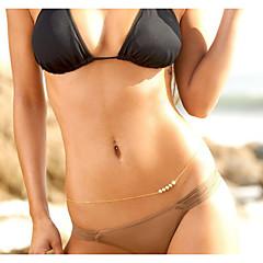 Mujer Joyería Corporal Cinturones metálicos Para Cuerpo Perla Perla Artificial Bikini Sexy Moda Dorado Joyas Diario Casual 1 pieza
