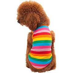 abordables Accesorios Mascota-Gato Perro Camiseta Ropa para Perro Rayas Arco iris Algodón Disfraz Para mascotas Hombre Mujer Moda