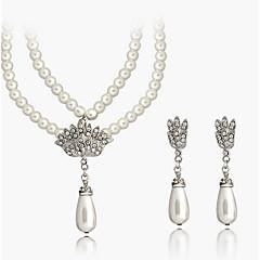 abordables Set de Joyas de Perlas-Mujer Cristal Conjunto de joyas - Incluir Collar / pendientes Blanco Para Boda Fiesta Diario / Pendientes / Collare