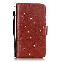 Недорогие Чехлы и кейсы для LG-Кейс для Назначение LG LG K4 LG K10 LG K7 LG G5 LG G4 Кейс для LG Бумажник для карт Кошелек Стразы со стендом Флип Рельефный Чехол Цветы