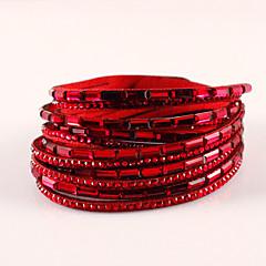 preiswerte Armbänder-Wickelarmbänder / Lederarmbänder - Leder, Strass, Diamantimitate Böhmische, Modisch, Boho Armbänder Braun / Rot / Khaki Für Party / Alltag / Normal
