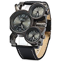 Heren Militair horloge Kwarts Drie tijdzones Leer Band Cool Zwart Blauw Rood