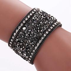 Herre Dame Wrap Armbånd Læder Armbånd Mode Boheme Stil Yndig Folk Style Læder Imitation Diamond Legering Geometrisk formSort Grå Blå