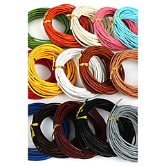 Beadia 5 Mts 2mm Round Leather Cord & Wire & String (15 Colors)