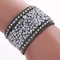 preiswerte Armbänder-Synthetischer Diamant Wickelarmbänder / Lederarmbänder - Leder, Diamantimitate Böhmische, Modisch, Boho Armbänder Blau / Golden / Schwarz / Gray Für Party / Alltag / Normal