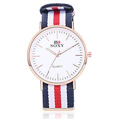 preiswerte Herrenuhren-SOXY Herrn Modeuhr Quartz Schwarz / Weiß / Khaki Armbanduhren für den Alltag Analog Charme - Weiß Beige Rot / Edelstahl