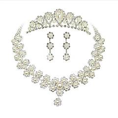 お買い得  ジュエリーセット-ネックレス/イヤリング 銀メッキ ホワイト ネックレス イヤリング・ピアス 髪飾り のために 結婚式 パーティー 1セット ウェディングギフト