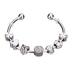 billige Armbånd-Dame Piger´ Charm-armbånd Armbånd Manchetarmbånd Strand Armbånd Sølvarmbånd Holdbar Mode Yndig Perler EuropæiskRhinsten Sølvbelagt