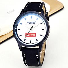 voordelige Bekijk deals-Heren Modieus horloge Kwarts Vrijetijdshorloge PU Band Streep Zwart